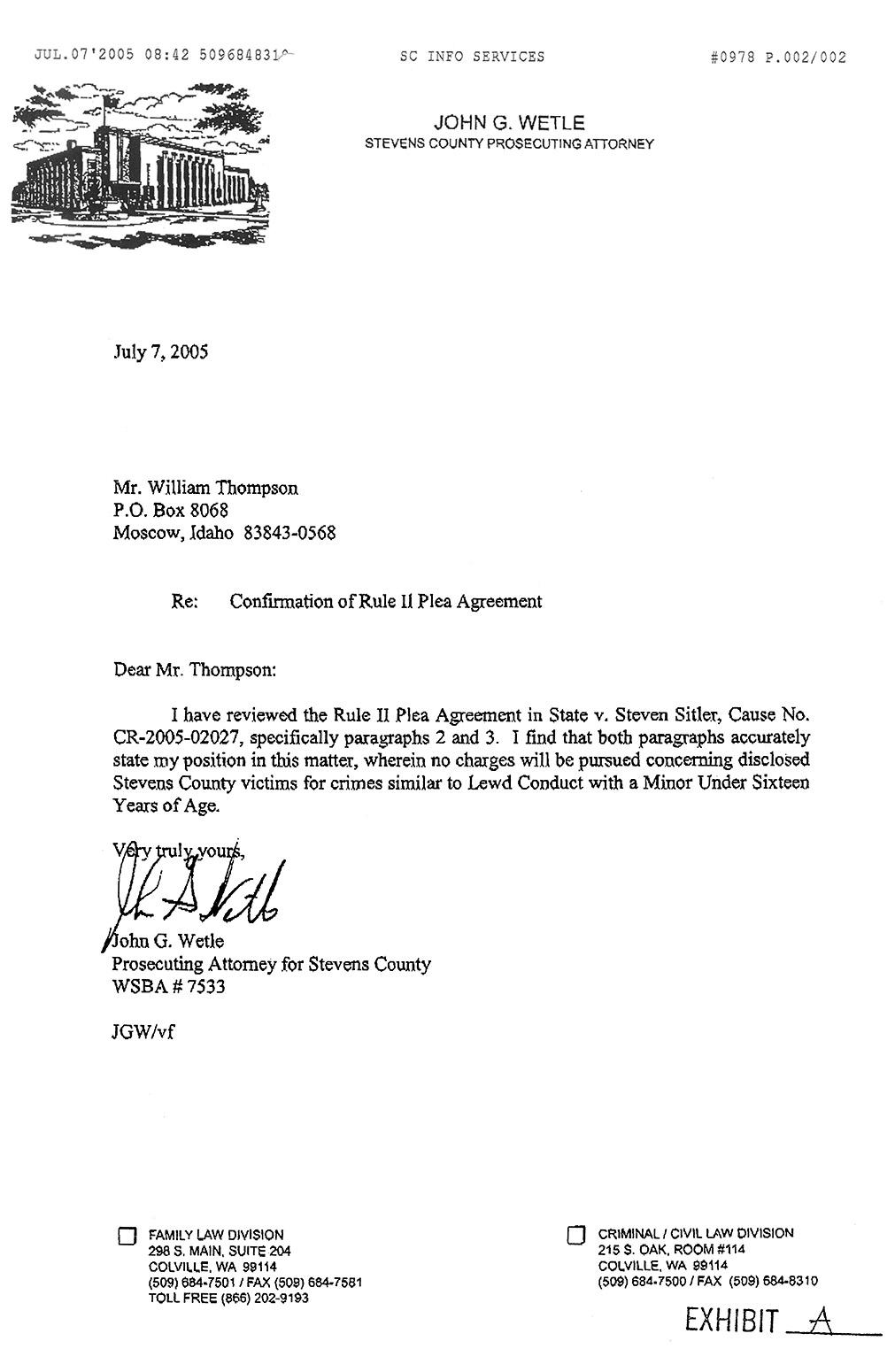 Confirmation of Rule II Plea Agreement