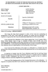 Steven Sitler: Court Minutes, Arraignment, page 1