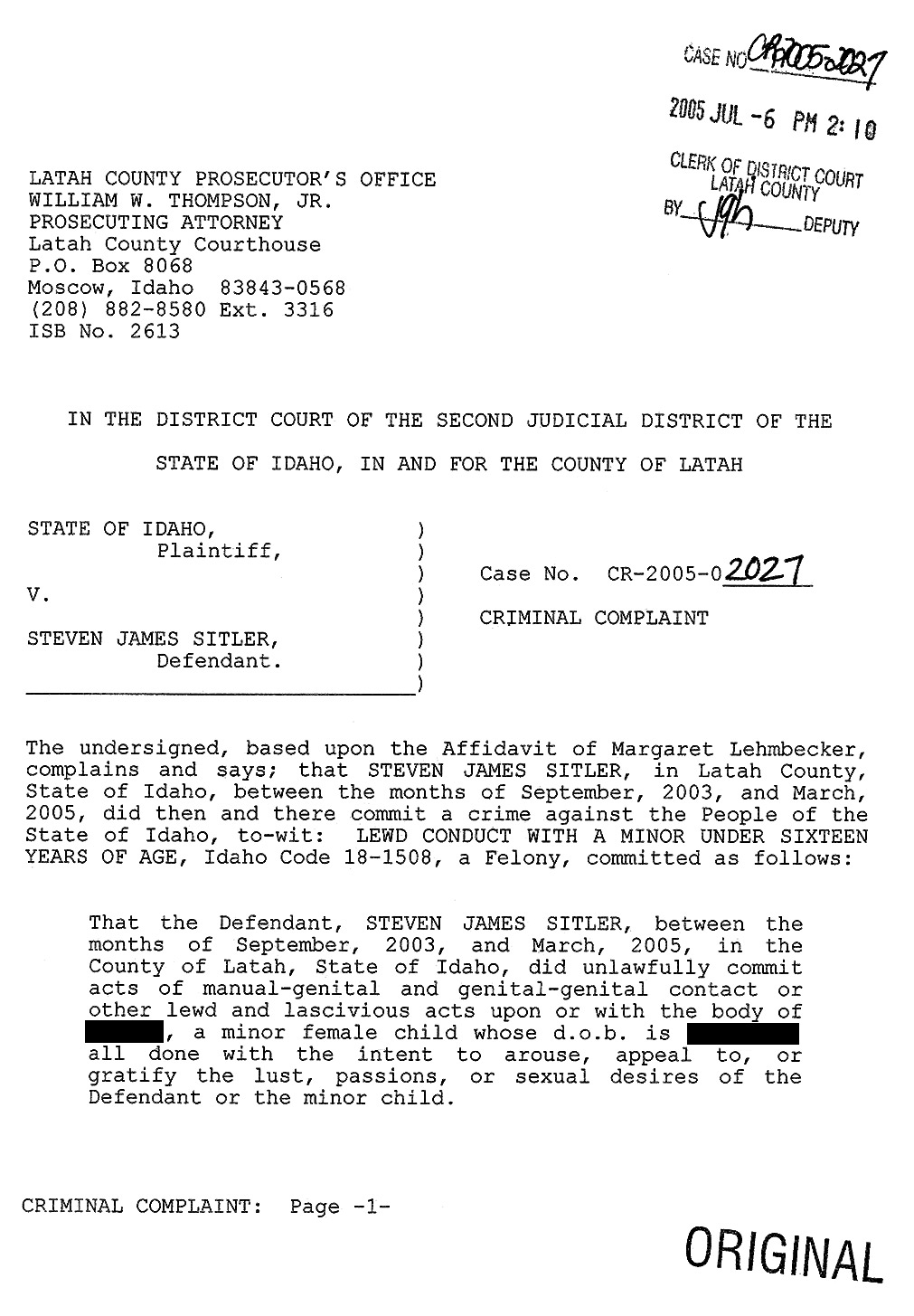 "Steven Sitler Criminal Complaint page 1: ""did unlawfully commit acts"