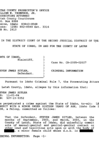 "Criminal Information page 1: ""Steven James Sitler. . . has perpetrated a crime against the state of Idaho. . ."""
