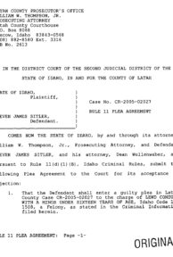 Steven Sitler: Rule 11 Plea Agreement, page 1