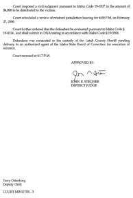Steven Sitler: Court Minutes, Sentencing, page 3