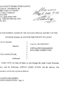 Stipulation Regarding Retained Jurisdiction page 1