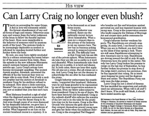 Can Larry Craig no longer even blush?