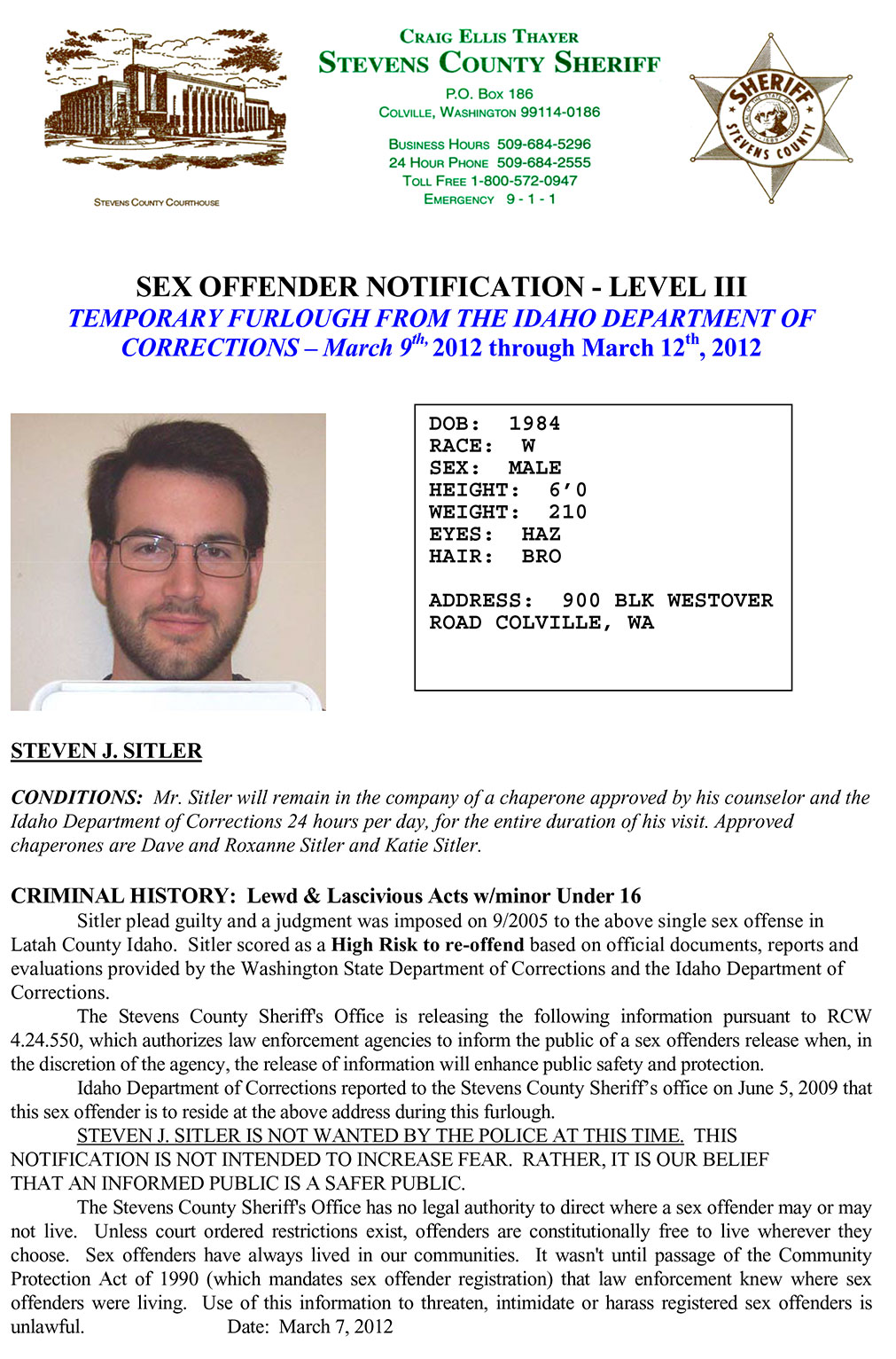 SEX OFFENDER NOTIFICATION — LEVEL III