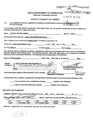 Warrant of Arrest