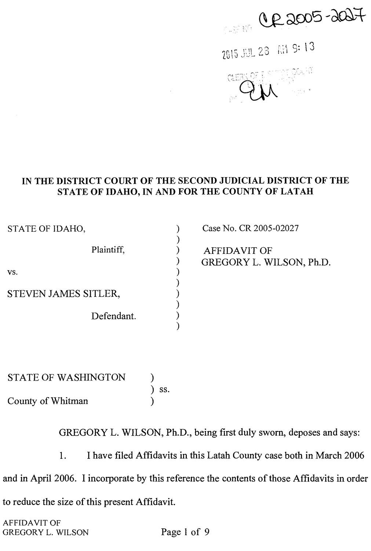 Affidavit of Gregory L. Wilson page 1