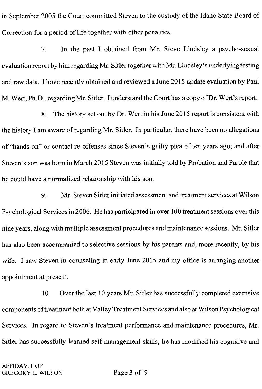Affidavit of Gregory L. Wilson page 3