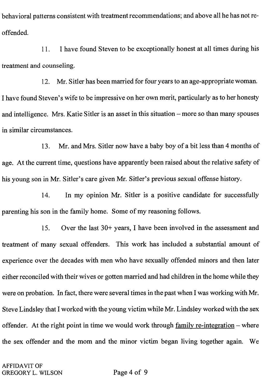 Affidavit of Gregory L. Wilson page 4