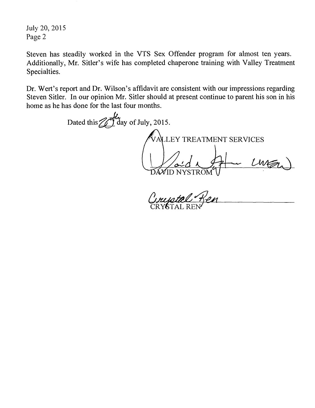Valley Treatment Specialties to Judge Stegner page 2