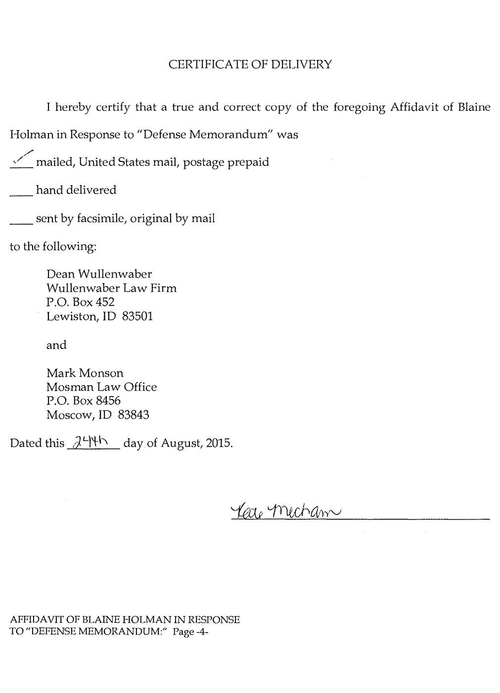 Blaine Holman Affidavit Page 4