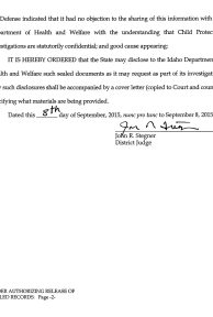 Order Authorizing Release of Sealed Records page 2