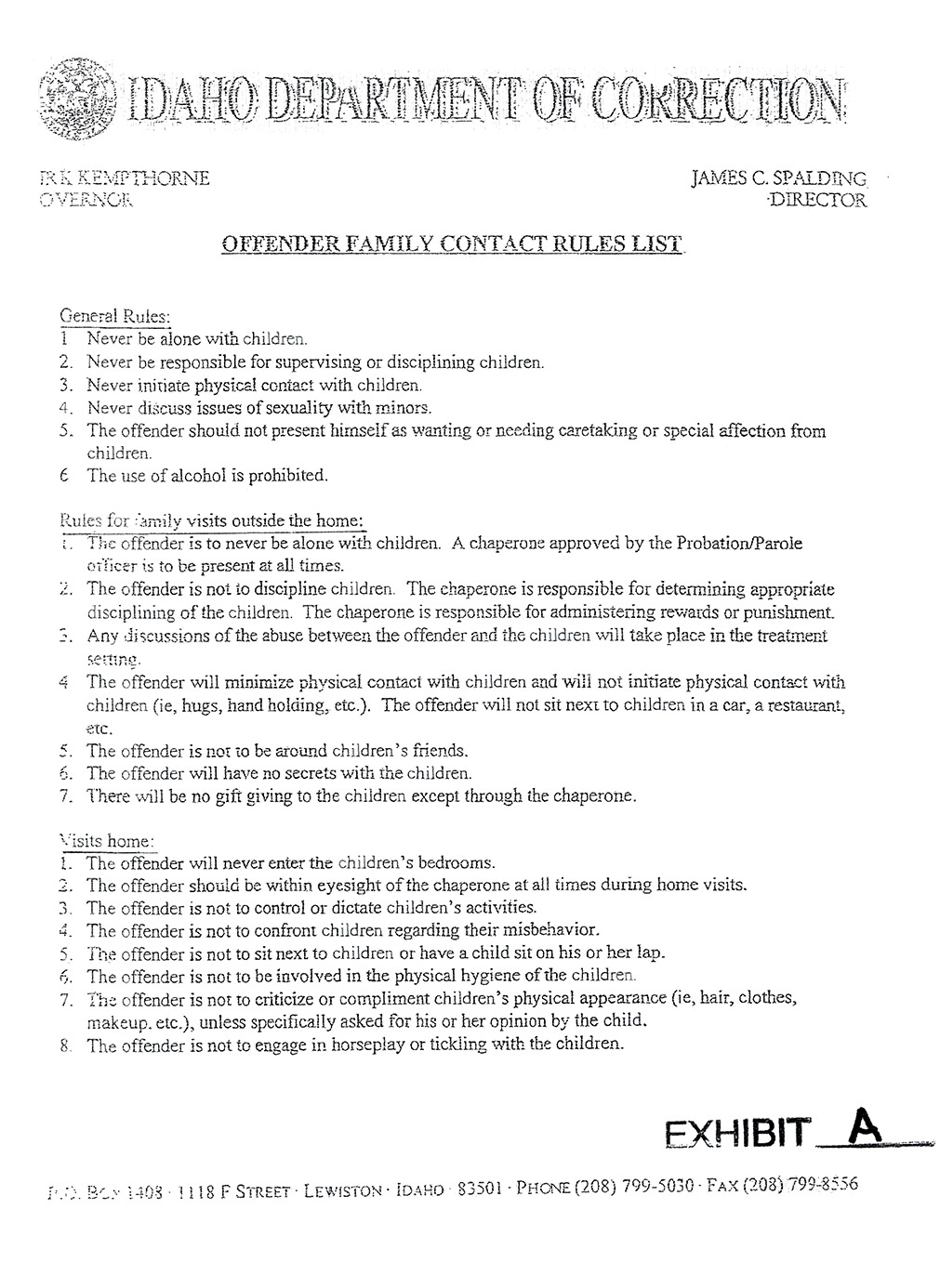 Offender Family Contact Rules List