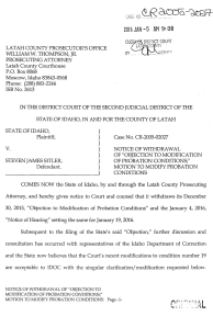 "Notice of Withdrawal of ""Objection to Modification of Probation Conditions""; Motion to Modify Probation Conditions page 1"