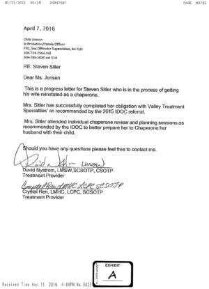 Steven Sitler: Progress Letter to Probation Officer
