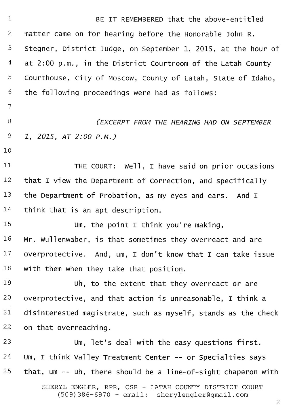 Exhibit B: Excerpted Court Transcript, page 2